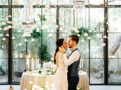 Bride and Groom at Aqueduto Eventos in Portugal Boho Chic Wedding
