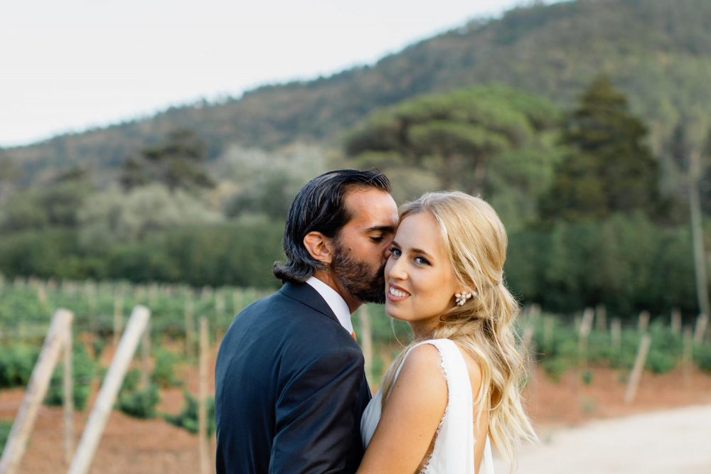 Bride and Groom portraits in vineyards in Portugal wedding at Quinta Senhora da Oliveira