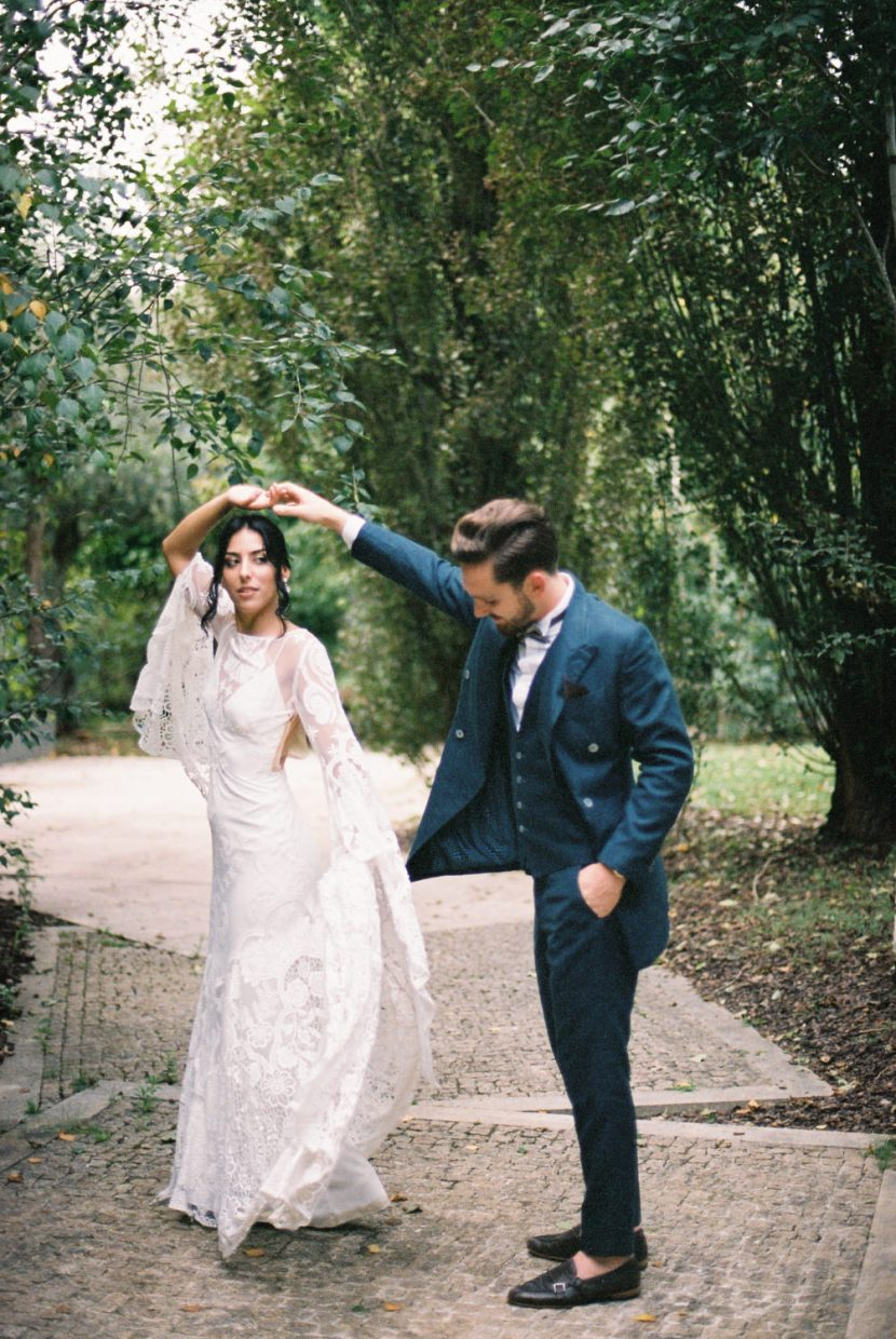 Bride and Groom dancing at Portugal Boho Chic Wedding