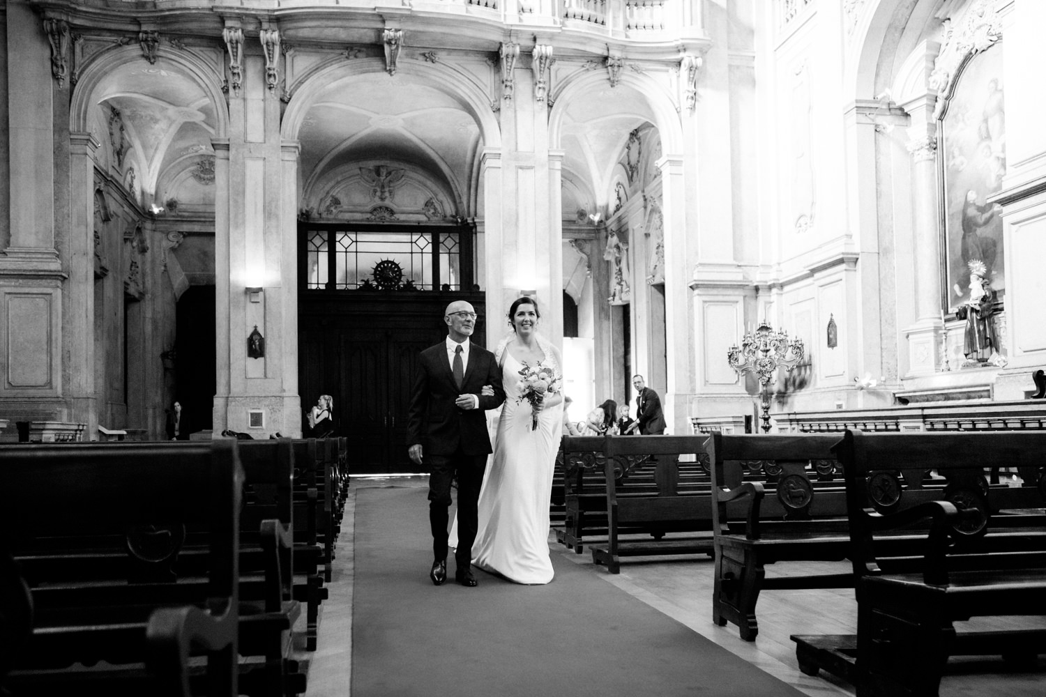 Bride and her father walking down the aisle in Lisbon wedding