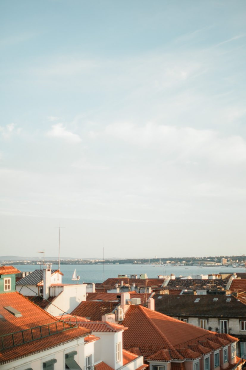 Lisbon views to Tagus river from rooftop in Chiado