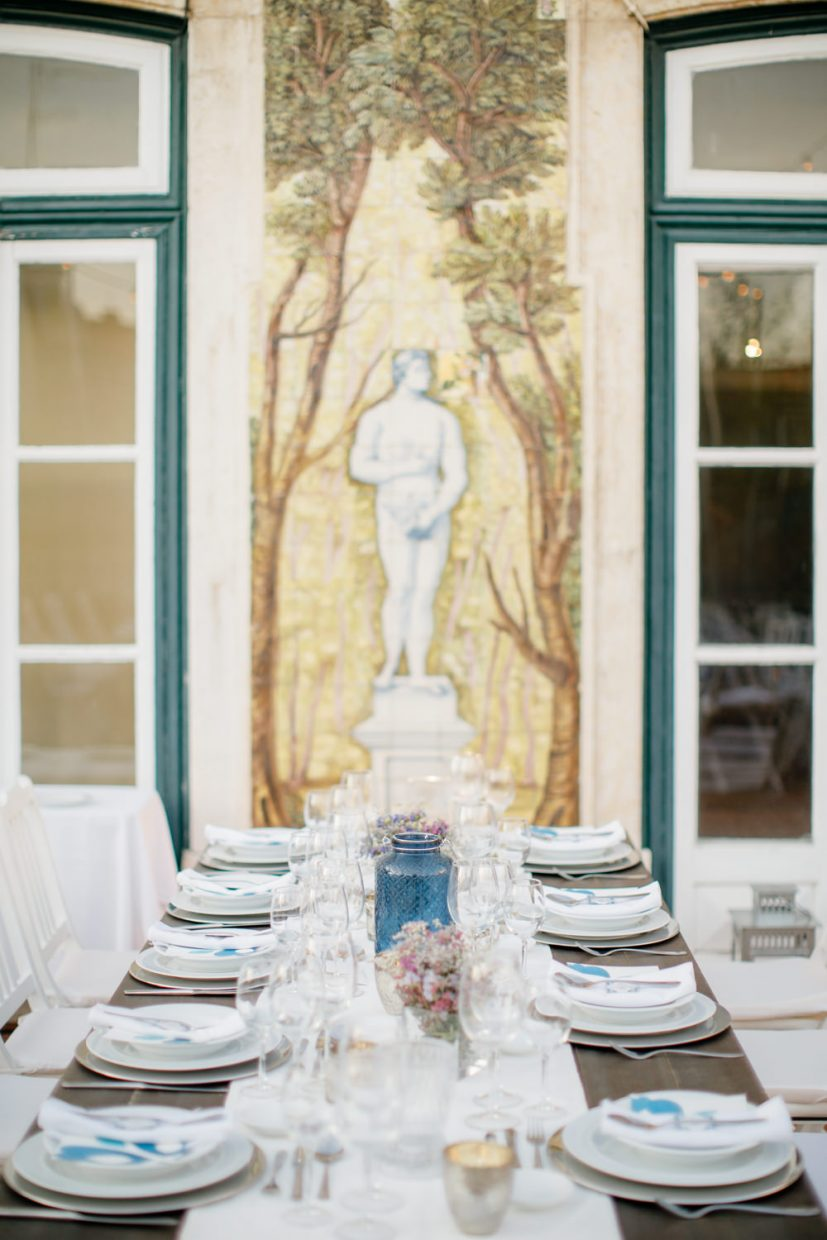 Table setting of City wedding in Lisbon