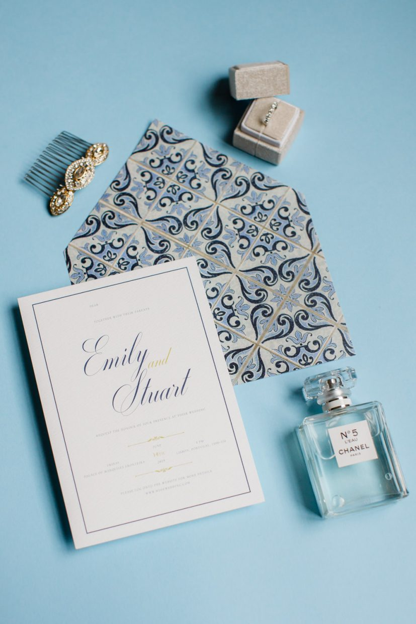 Elegant Navy and White Wedding Invitation with Bridal Accessories and Chanel Nº5 wedding perfume in Portugal
