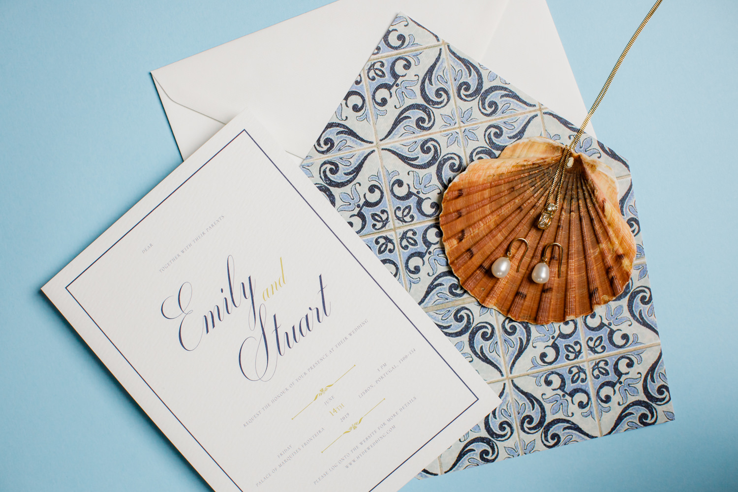 Elegant Navy and White Wedding Invitation with Bridal Accessories