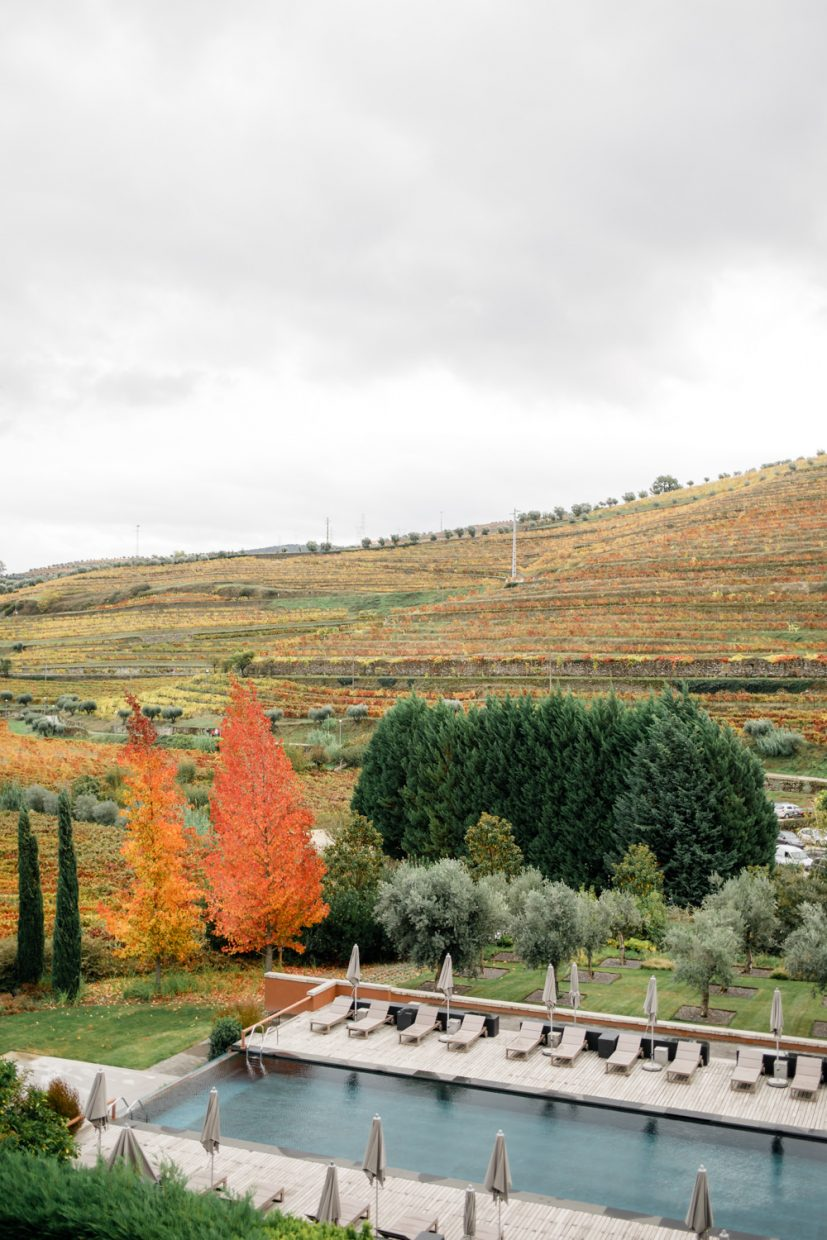 Six Senses Douro Valley Wedding views to pool and vineyards.